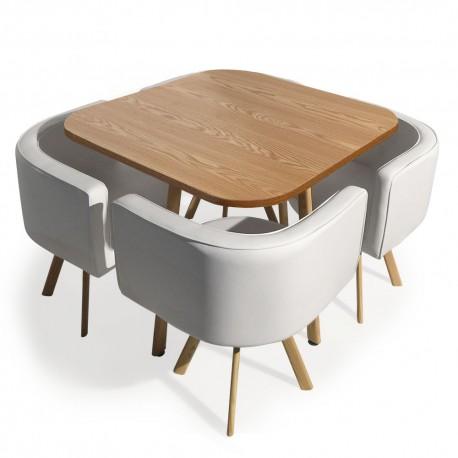 table et chaises scandinaves dinner blanc et chene