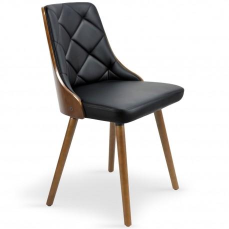chaises scandinaves effet cuir bois noisette noir lot de 2