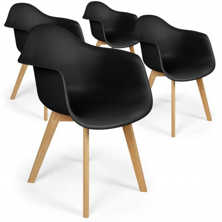 chaises scandinaves design daven noir lot de 4
