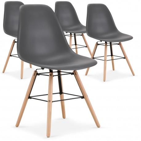 chaises scandinaves elies gris lot de 4