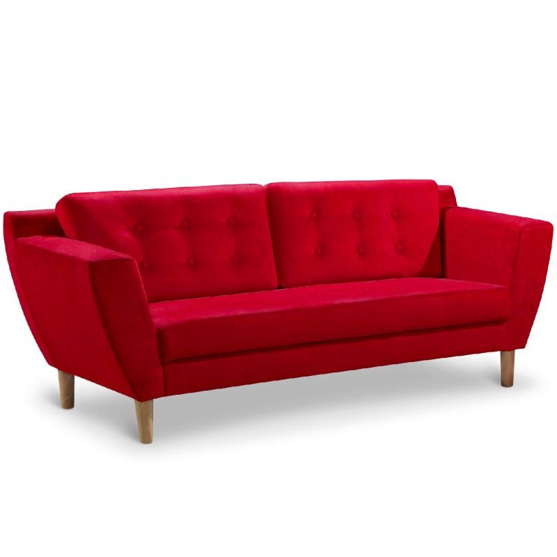 Canap 3 places Scandinave Vintage Tissu Rouge pas cher  Scandinave Deco