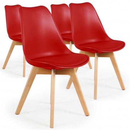 chaise scandinave cuir simili rouge ericka lot de 4