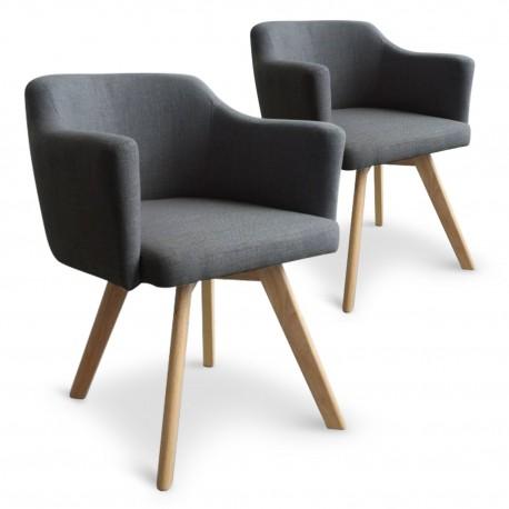 fauteuil scandinave gris en tissu rigo lot de 2