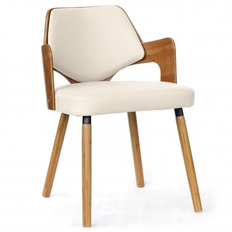 chaises scandinave simili cuir blanc mias lot de 2