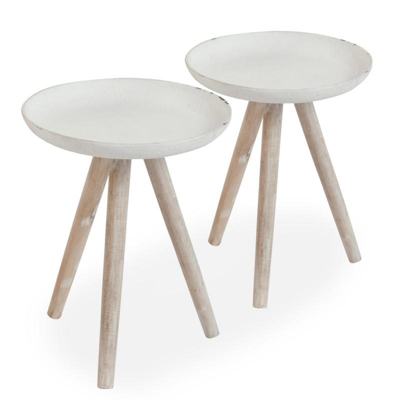 table basse scandinave bois blanc lot de 2