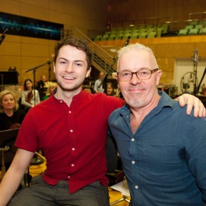 Alex Murphy and composer Ray Harman with the RTE Concert Orchestra AR