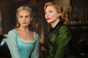 Lily James and Cate Blanchett in Kenneth Branagh's adaptation of Disney's Cinderella, screening Saturday 21st.