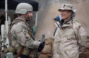 Clint Eastwood and Bradley Cooper on the set of AMERICAN SNIPER