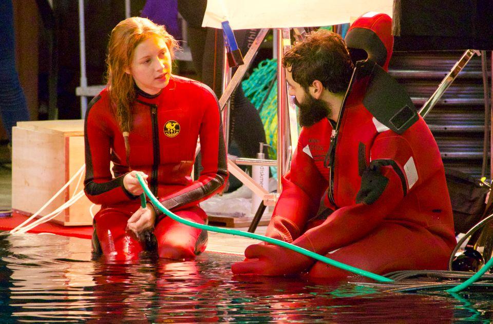 Hermione Corfield and Ardalan Esmaili on set of Neasa Hardiman's Sea Fever. Photo: Gus Kaage/Film i Väst