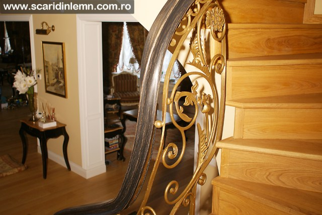 scara din lemn interioara - balustrada - mana curenta lemn curbat