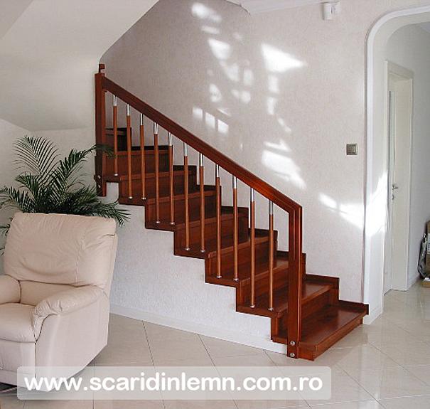 Scara interioara din lemn balustrii cu terminatii de inox si placare trepte - Balustrade inox leroy merlin ...