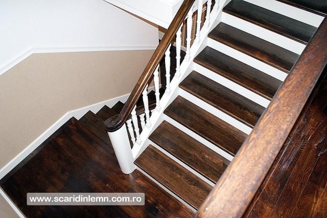 Scari interioare, trepte beton placat cu lemn, vang modular, mana curenta continuua din lemn curbat, pret