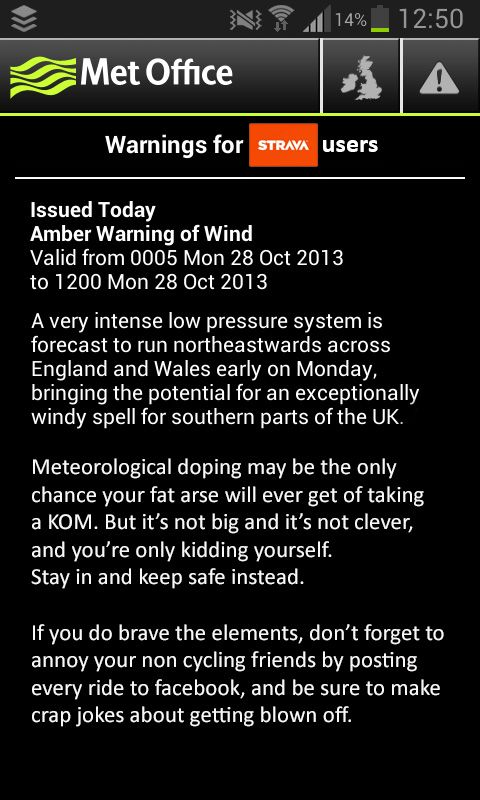 Met office Strava