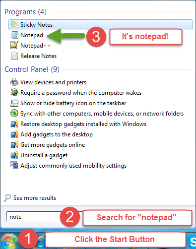 How to find Notepad on Windows 7