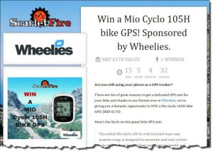 screenshot of mio giveaway