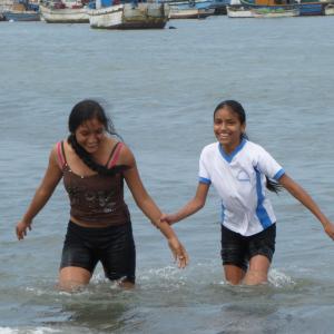 having fun at the beach