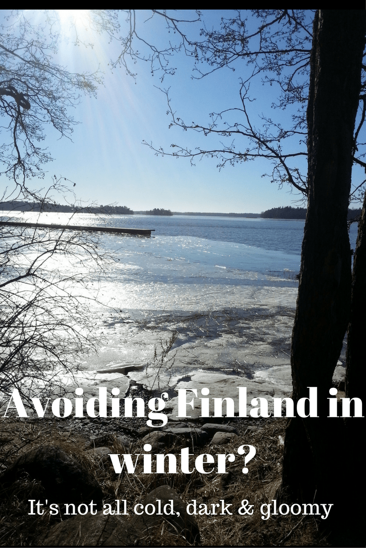 Finland in winter. Frozen lakes and fjords