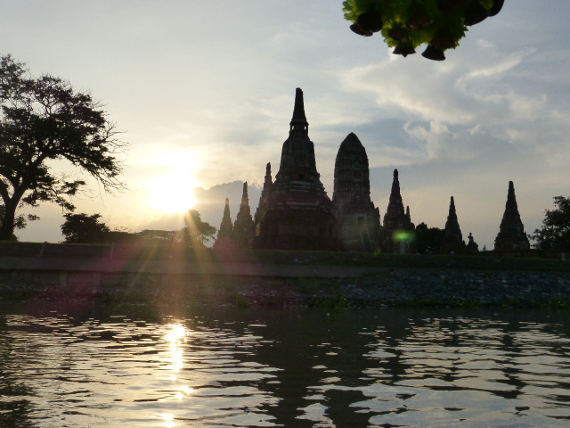sunset view from the river at Ayutthaya