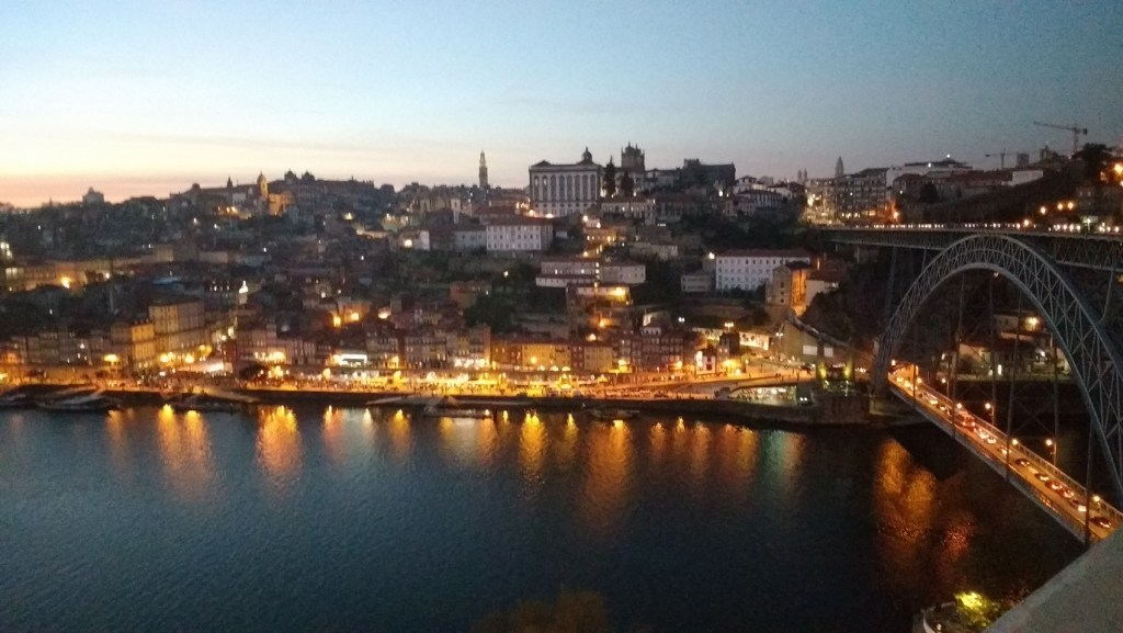 the wine cellars by night in Porto