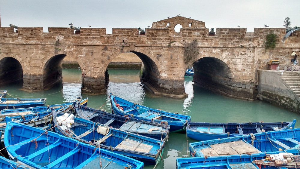 Boats in the harbour at Essouira