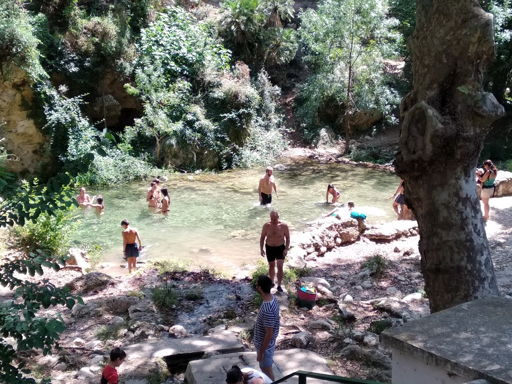 swimming in natural pools on a Spanish motorcycle tour