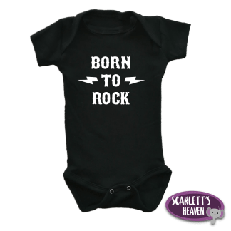 Baby Grow - Black - Born To Rock