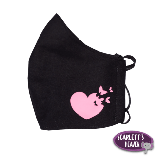 Face Mask - Black Cotton - Pink Heart Print