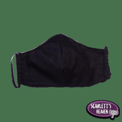 Face Mask - Black Cotton - Plain