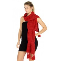 Curvey Long Knit Pompom Scarf - Scarves 'N Wraps