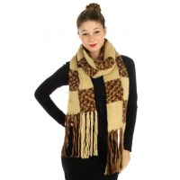 Mable Block Long Knit Scarf - Scarves 'N Wraps