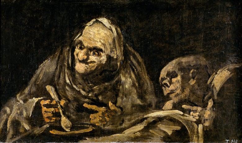 goya black paintings, two old men eating soup