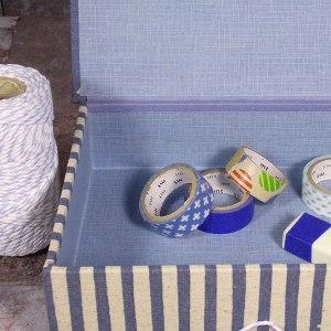 Blau gemusterte Schachtel für Zettel oder Karten