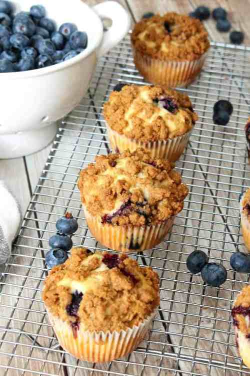 blueberry muffins with blueberries and mesh rack