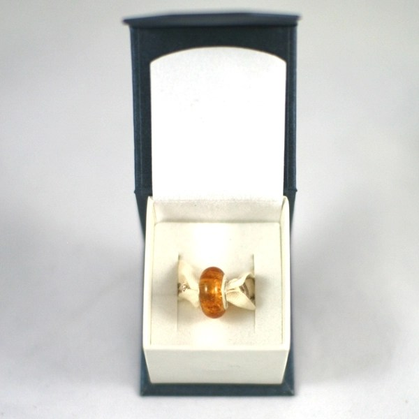 Pandora Style Memorial Charm Bead: Amber in Box