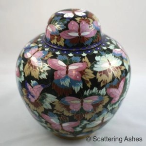 Cloisonne funeral urn for ashes