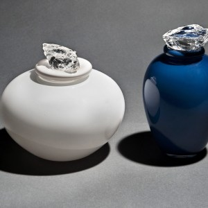 Hand Blown Glass Urns with Crystal Stoppers.