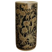 Ceramic Umbrella Stand Black & Beige Art Nouveau