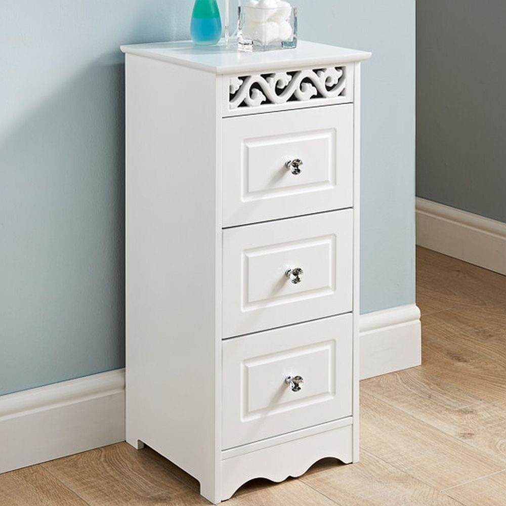 White Wooden Narrow Bathroom Chest of 3 Drawers