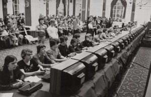 The National Space Invaders Championship held by Atari in 1980.