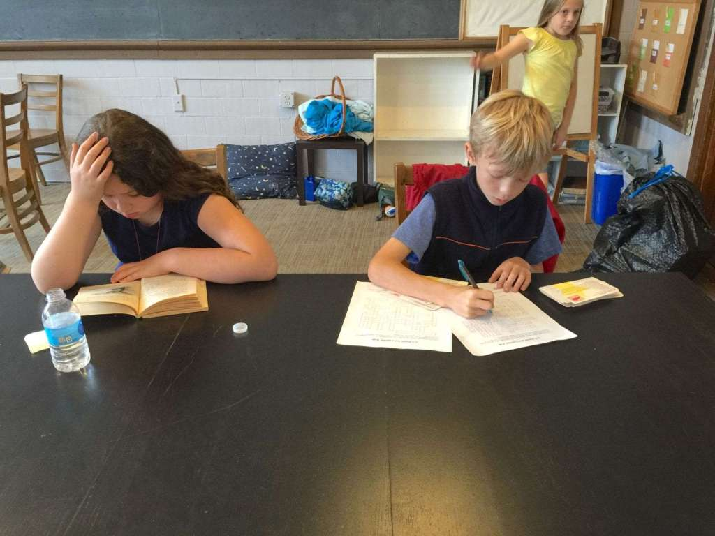 Fourth graders-- studious for at least part of the day-- strictly out of habit, of course.