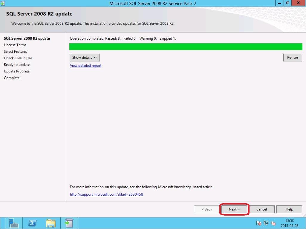 Install SQL Server 2008 R2 SP2 for ConfigMgr 2012 SP1