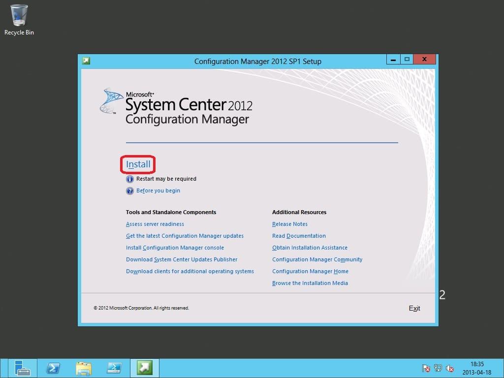 Install a ConfigMgr 2012 SP1 Primary Site on Windows Server 2012