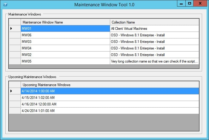 Show Maintenance Windows information for a device in ConfigMgr 2012