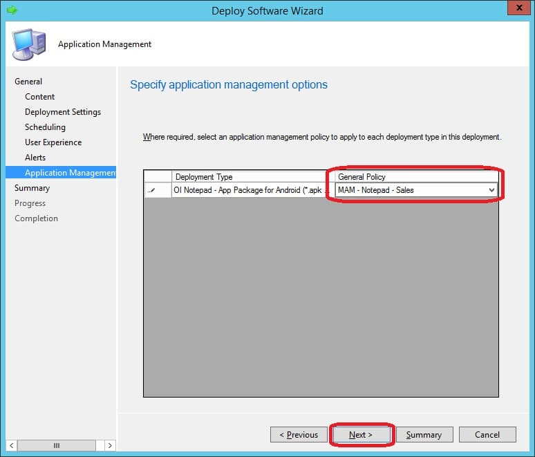 Create and Associate a Mobile Application Management policy in