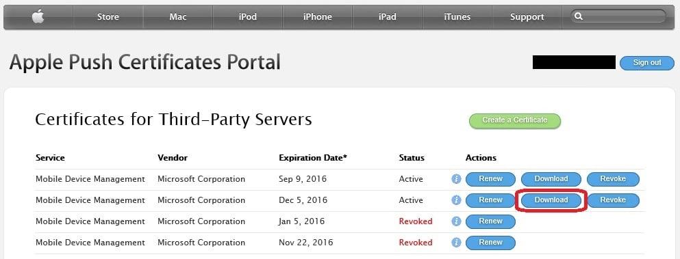 windows phone mdm certificate