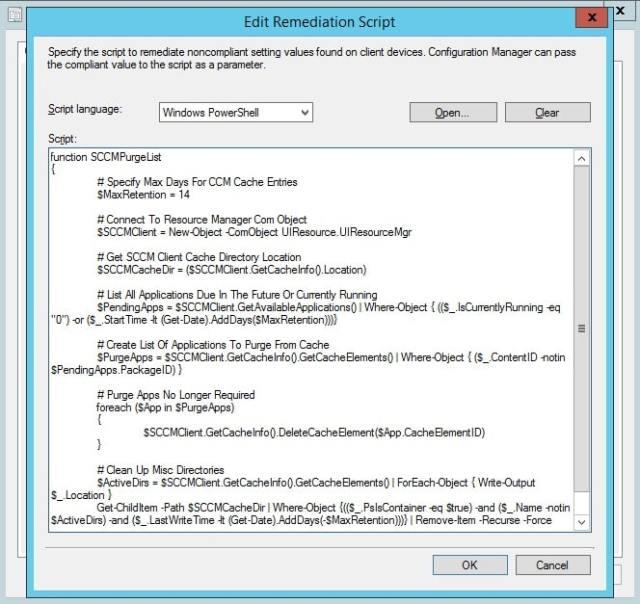SCCM Client Cache Maintenance – Configuration Baseline