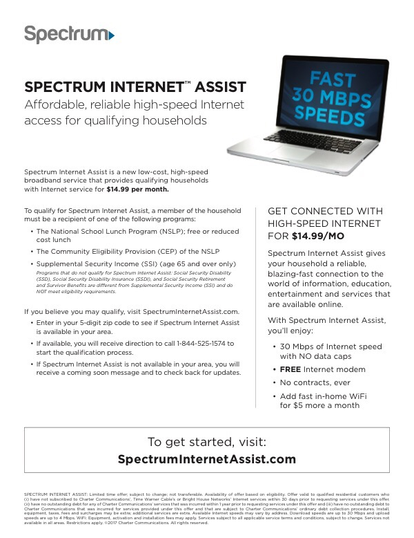 Spectrum Internet Assist – $14 99/month | Southeast Community