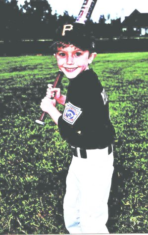 Edwards, age 5, on his Little League team, the Pirates.