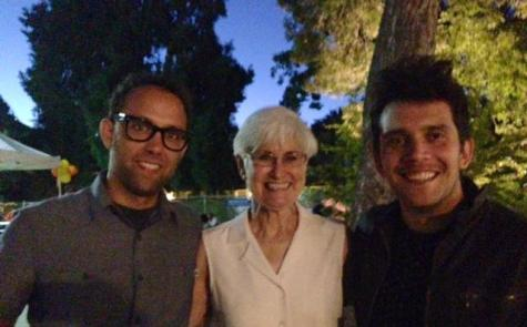 Comedian Grant Lyon, '02, with former Matthews Librarian Sheila Hefty and singer Gustavo Galindo, '00 during a concert that fundraised for Breakthrough in July 2014.