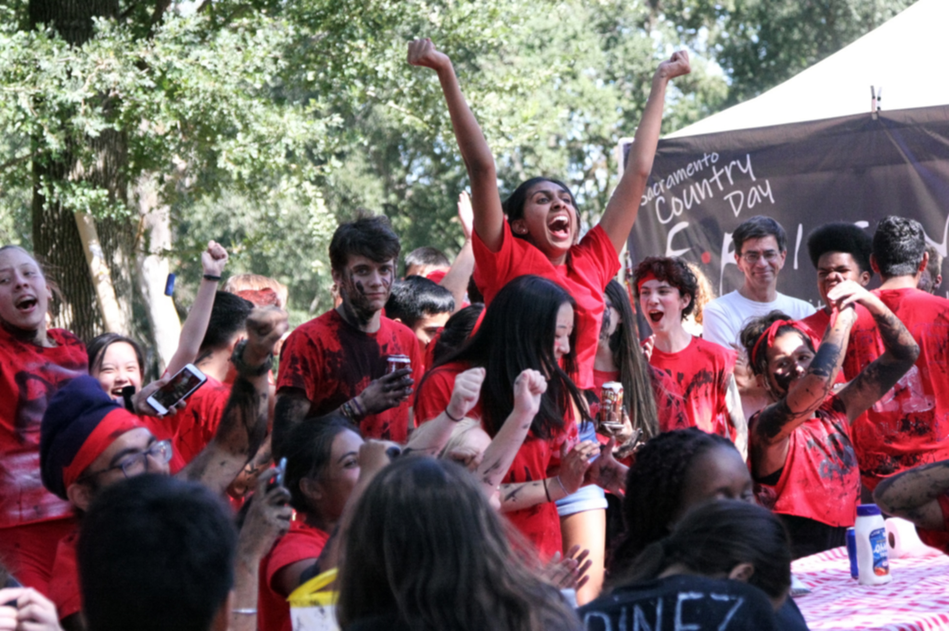 The Red Team celebrates as the verdict is announced. (Photo by Shimin Zhang)